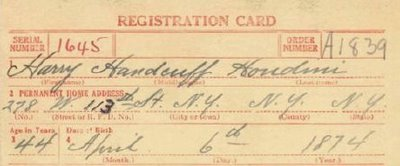 draft card for Harry Houdini in the WWI draft